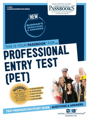 cover image of Professional Entry Test (PET)