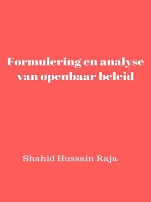 cover image of Formulering en analyse van openbaar beleid