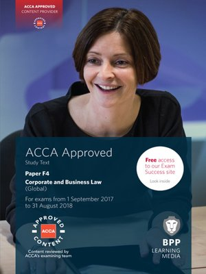 cover image of ACCA F4 Corporate and Business Law (Global): Study Text