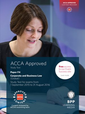cover image of ACCA F4 Corporate and Business Law (Global)