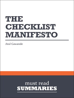 cover image of The Checklist Manifesto - Atul Gawande