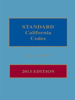 cover image of Standard California Codes: 6-in-2