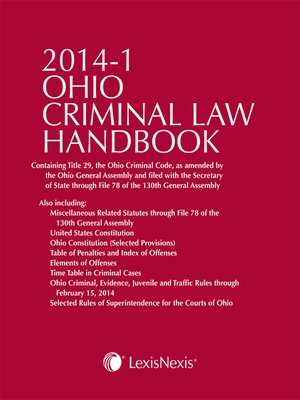 cover image of Ohio Criminal Law Handbook