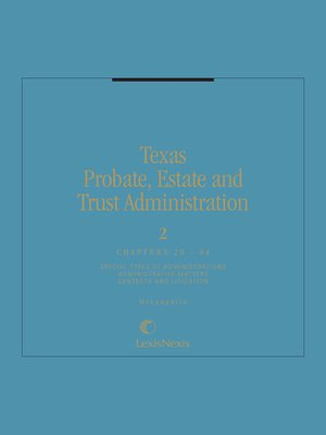 cover image of Texas Probate, Estate, and Trust Administration
