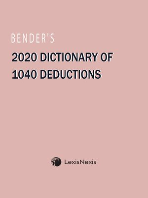 cover image of Bender's Dictionary of 1040 Deductions