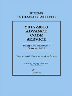 cover image of Burns Indiana Advance Code Service