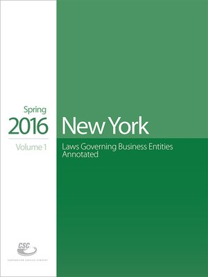 cover image of CSC New York Laws Governing Business Entities Annotated