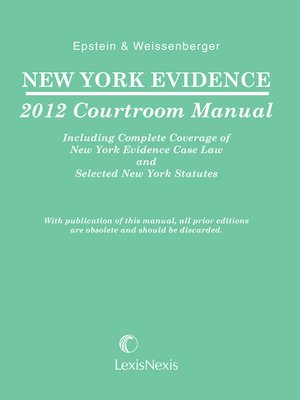 cover image of NY Evidence Courtroom Manual