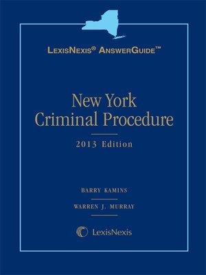 cover image of New York Criminal Procedure