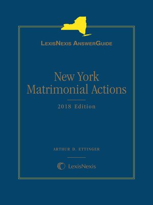 cover image of LexisNexis AnswerGuide New York Matrimonial Actions