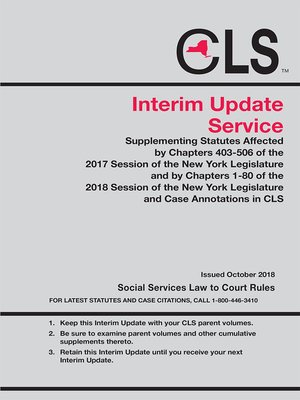 cover image of New York Consolidated Laws Service (CLS) Quarterly Update Service
