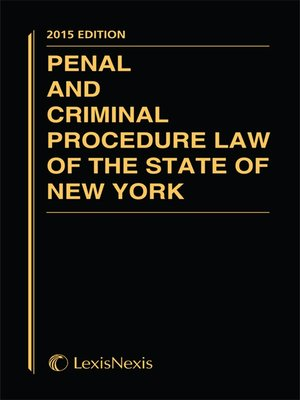 cover image of Penal and Criminal Procedure Law of the State of New York