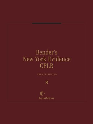 cover image of Bender's New York Evidence