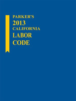 cover image of Parker's California Labor Code