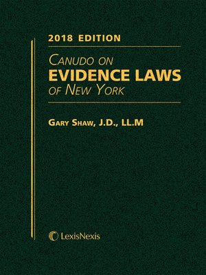 cover image of Canudo on Evidence Laws of New York