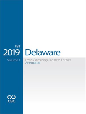 cover image of CSC Delaware Laws Governing Business Entities Annotated