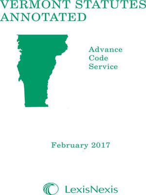 cover image of Vermont Statutes Annotated Advance Code Service