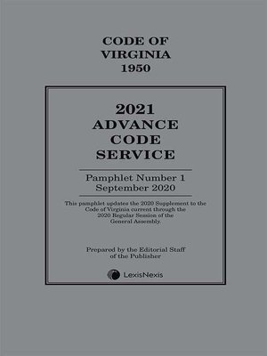 cover image of Virginia Advance Code Service