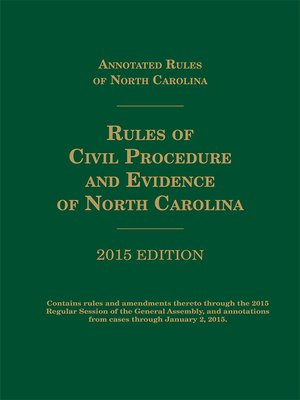 cover image of North Carolina Rules of Civil Procedure and Evidence