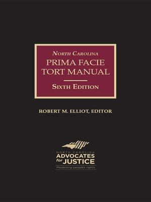 North carolina prima facie tort manual by robert m elliot for North carolina tattoo laws