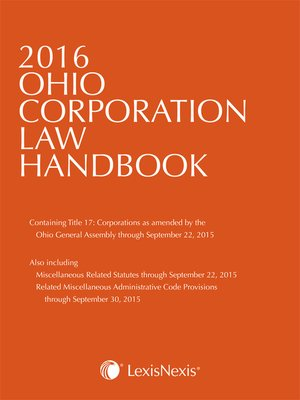 cover image of Anderson's 2016 Ohio Corporation Law Handbook