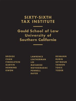 cover image of Sixty-Sixth Tax Institute