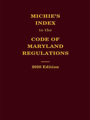 cover image of Michie's Index to the Code of Maryland Regulations