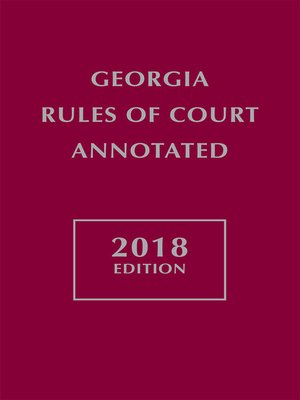 cover image of Georgia Rules of Court Annotated