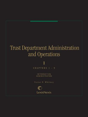 cover image of Trust Department Administration and Operations