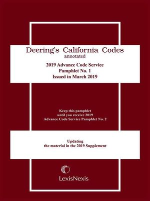 cover image of California Deering's Advance Code Service