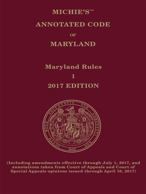 cover image of Maryland Court Rules Annotated
