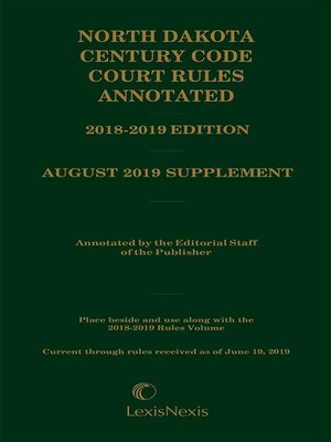 cover image of North Dakota Century Code Court Rules Annotated