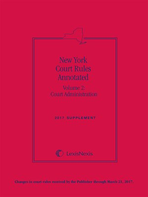 cover image of New York Court Rules Annotated