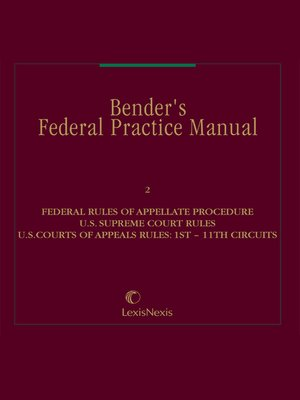 cover image of Bender's Federal Practice Manual