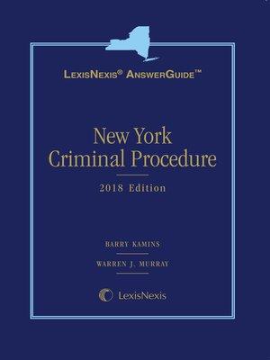 cover image of LexisNexis AnswerGuide New York Criminal Procedure