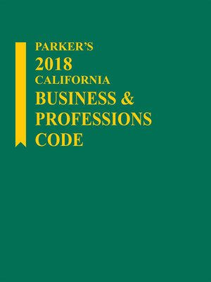 cover image of Parker's California Business & Professions Code
