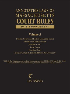 cover image of Annotated Laws of Massachusetts Court Rules