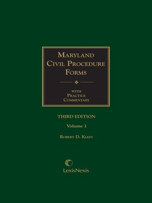 cover image of Maryland Civil Procedure Forms