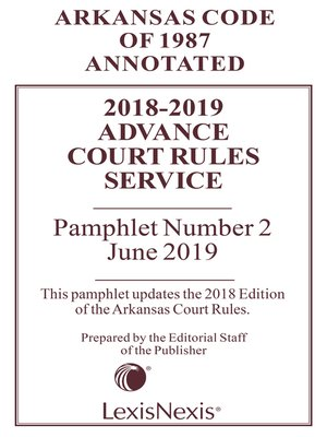 cover image of Arkansas Advance Court Rules Service