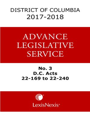 cover image of District of Columbia Lexis Advance Legislative Service