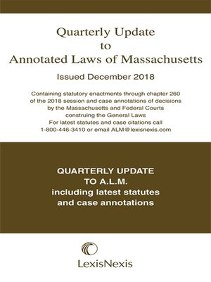 cover image of Quarterly Update to Annotated Laws of Massachusetts