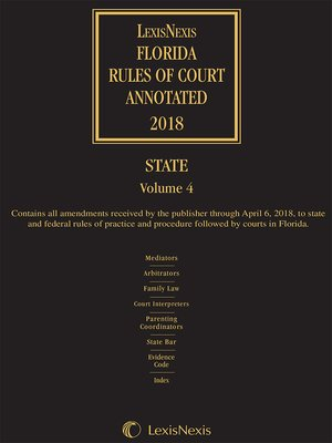 cover image of Florida Rules of Court Annotated