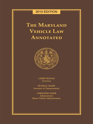 cover image of The Maryland Vehicle Law Annotated