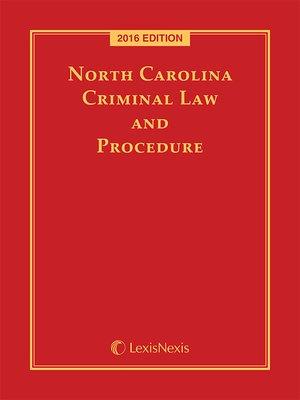 cover image of North Carolina Criminal Law and Procedure