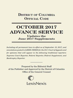 cover image of District of Columbia Lexis Advance Service