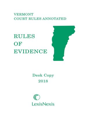 cover image of Vermont Rules of Evidence Desktop Copy