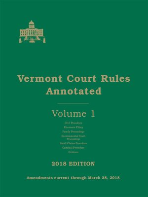 cover image of Vermont Court Rules Annotated