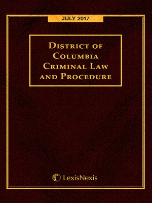 cover image of District of Columbia Criminal Law and Procedure