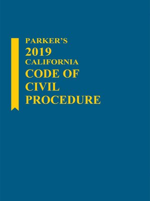 cover image of Parker's California Code of Civil Procedure