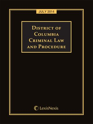 cover image of District of Columbia Criminal Law and Procedure Annotated